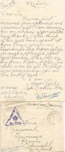 Letter Written from Spr Bartle